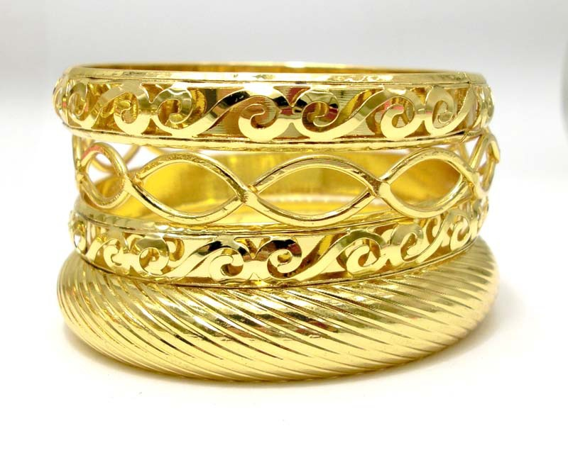 Unique Craft 18K Gold Plated Metal Bangle Set. Wholesale Indian Golden Jewelry. New Arrival Cheap Indian Bangle Set(China (Mainland))