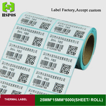 White blank sticker paper 25mmx15mm 5000pcs one roll thermal printer label self adhesive printing papel can customized logo