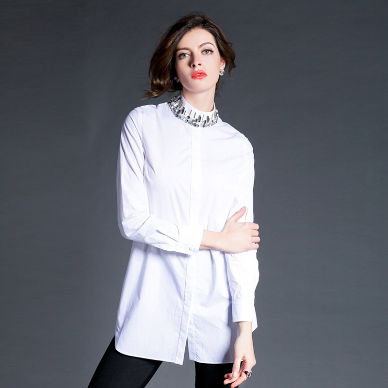 women blouses 2015 New Europe and the major suit European station early spring collar bead diamond in long shirt