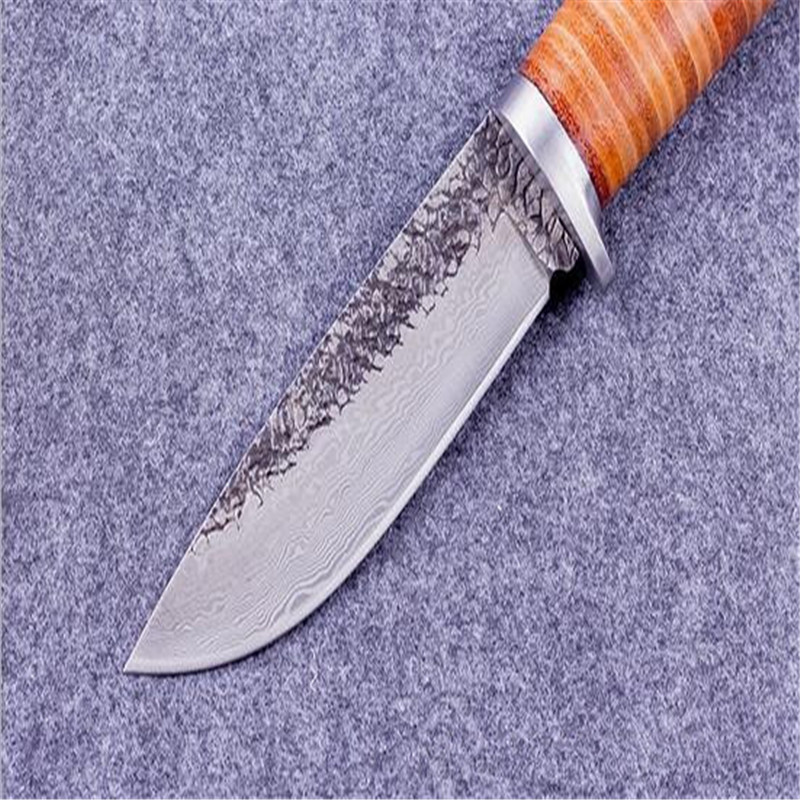 Buy Sharp Fixed blade Hunting Knife Handmade forged Damascus Steel camping knifeblade 58HRC leather handle survival Tactical tool cheap