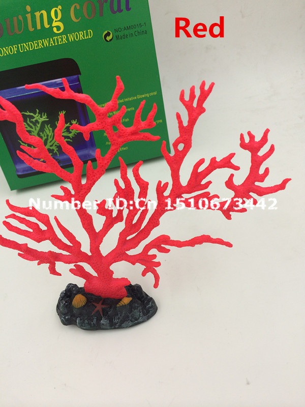 New Aquarium decorations Artificial glowing coral red simulation tree makes beautiful fish tank - Bestbest life store