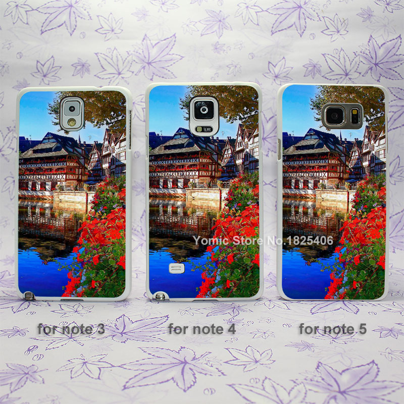Christmas Market Strasbourg Design hard White Skin Case Cover for Samsung Galaxy note 2 3 4 5 s4mini s6edge plus(China (Mainland))
