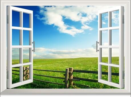 Farm DIY Green Clean Cloud Railings Bright Sky 3D Window View Removable Wall Art Stickers Vinyl Decal Home Decor WSfarm001(China (Mainland))