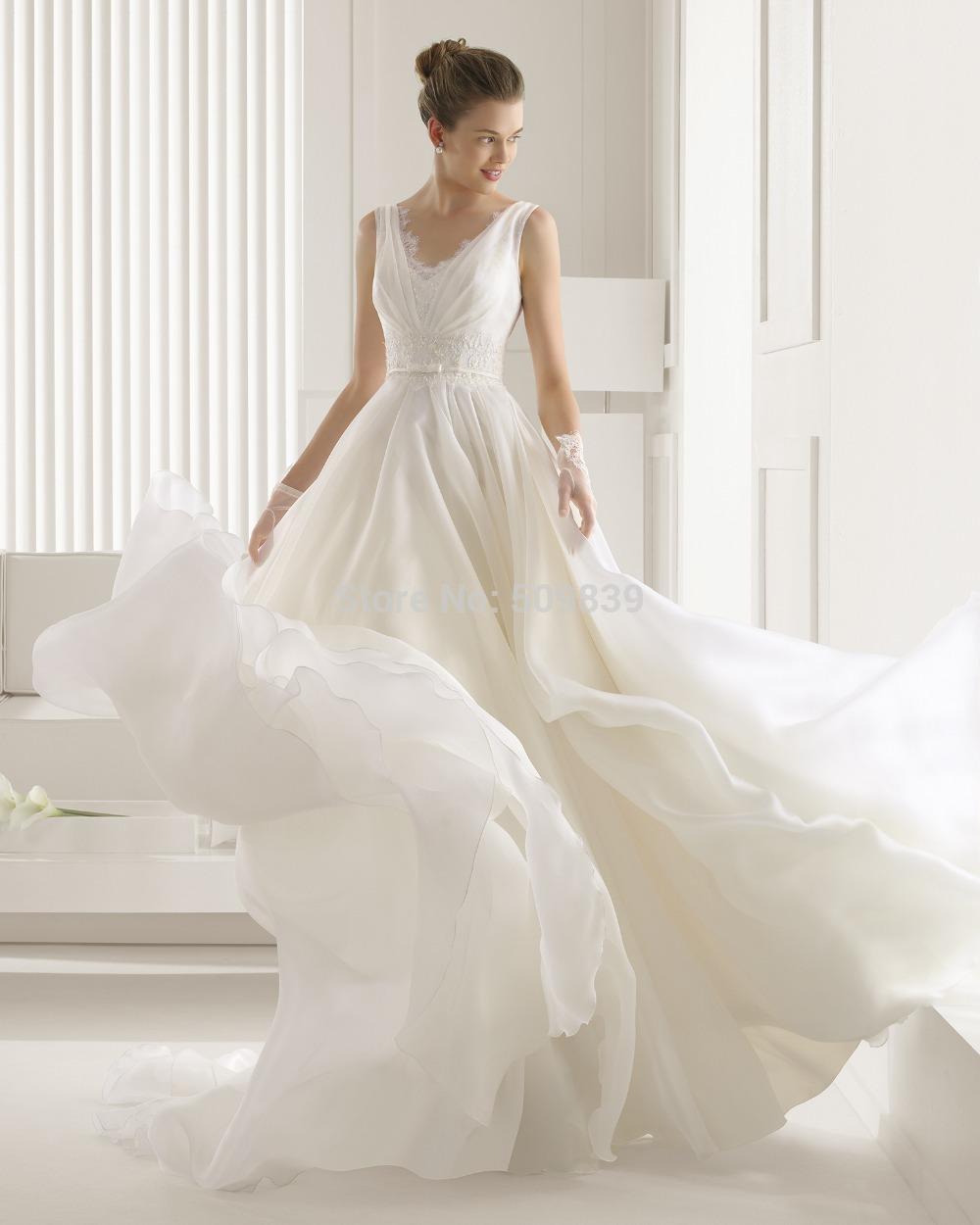 Vestidos de noiva a line v neck wedding dress 2015 simple for V neck a line wedding dresses