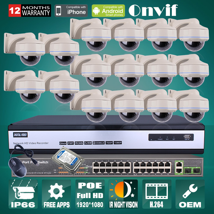 24CH POE Switch+16CH H.264 NVR Security Surveillance CCTV System 6TB HDD 1080P 2MP Outdoor Vandalproof Network POE IP Camera(China (Mainland))