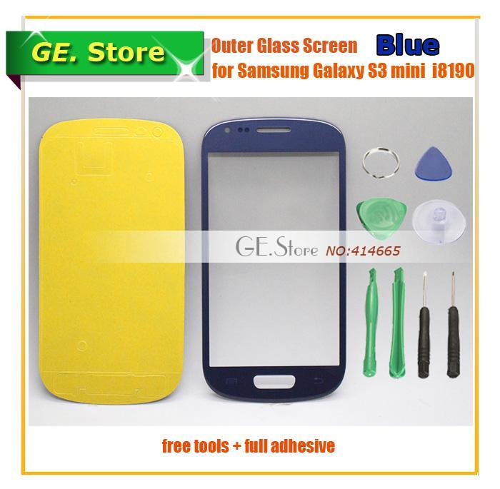 Replacement s3 mini outer glass samsung lcd touch screen digitizer front lens GT-i8190 i8190 BLUE+tools+full adhesive - Gadget Express Store store