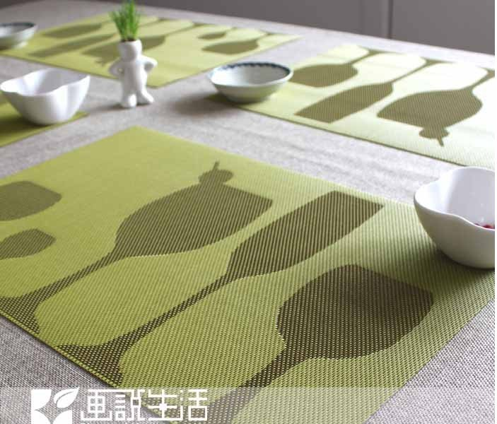 Fashion european wine glass placemat double sided pvc for Glass table placemats