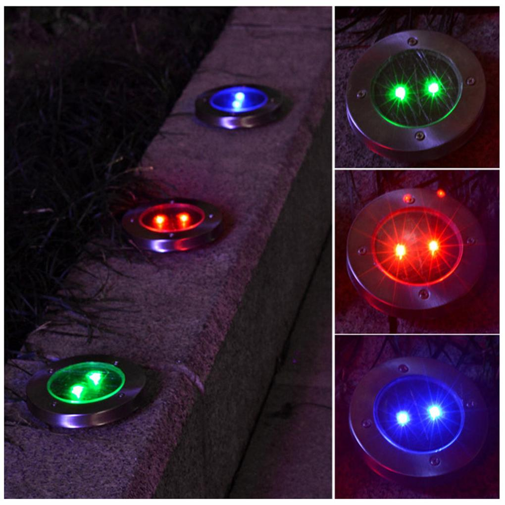 2 LED Solar Power Buried Light Lamp Outdoor Path Way Garden Ground Decking