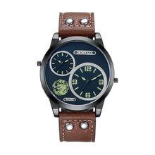 Relojes de hombre Cagarny relojes de pulsera de cuarzo de moda para hombre Cool Big Zone correa de reloj de cuero militar reloj Masculino D6852 horas(China)