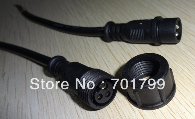 10pcs/lot 3 Core BLACK Waterproof pigtail,20cm long each;male and female;male connector's diameter:13.5mm