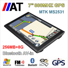 2015 New 7 inch wince GPS Navigation 256MB +8GB  800MHZ MTK Chipset vehicle gps Navi bluetooth AVIN / FMT / Free new world map(China (Mainland))