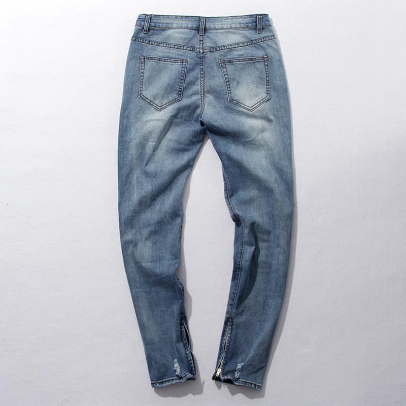 Hip Hop Fashion Pants Cool Mens Urban Clothing Jumpsuit Men's Zipper Broken-Hole Rock Star God Jeans with Some Broken Holes(China (Mainland))