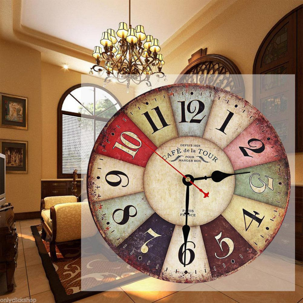Vintage Wooden Wall Clock Shabby Chic Rustic Retro Kitchen Home Antique Decor decor kitchen wall clocks decoration(China (Mainland))