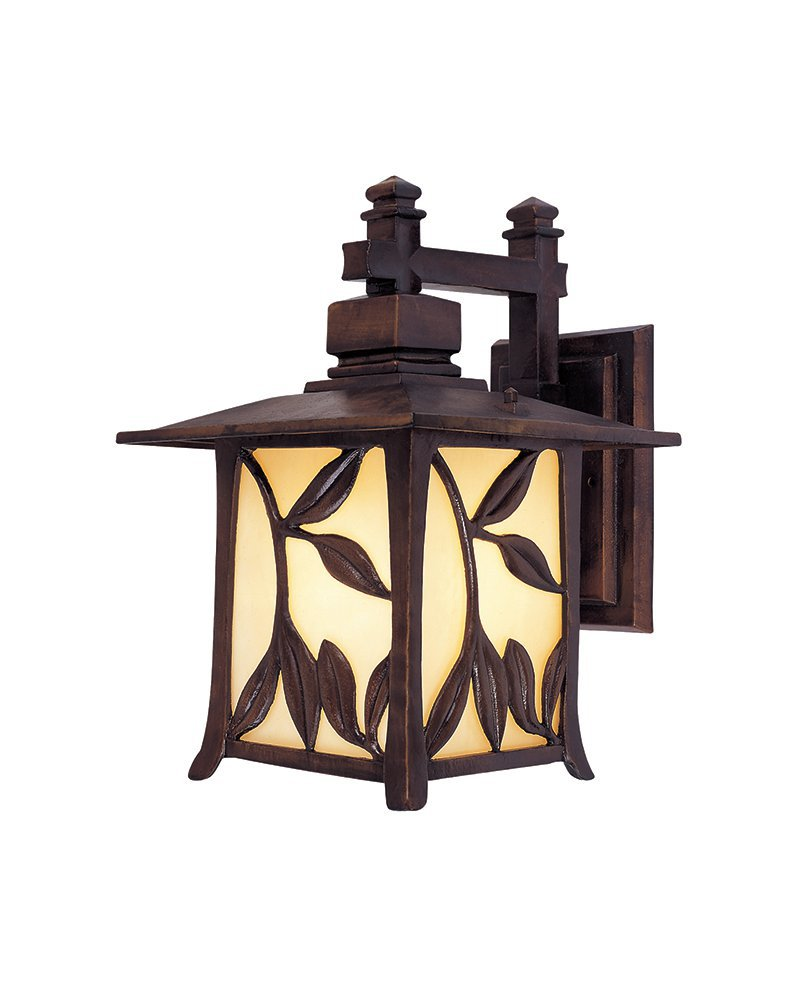 Coffee Finish Leaf Pattern Wall Lamp With Amber Shade For Attic PU EMS Free WH0114WD(China (Mainland))