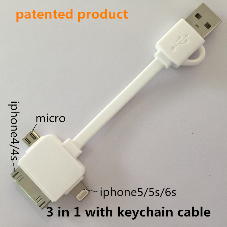 3 in 1 keychain usb cable Charging & data sync Applicable to otg micro usb charger original apple riphone 4s charger sevilla fc(China (Mainland))
