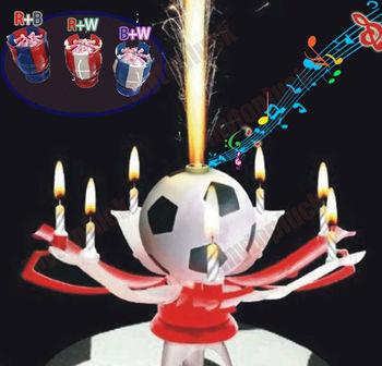 4 шт красивая поворотный футбол день рождения свеча музыкальный цветения Lotus цветок трофей свеча подарок фестиваль свеча