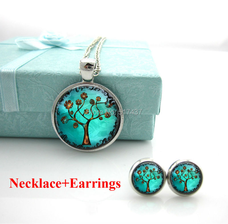 Free Shipping Tree Necklace Pendant. Charms. Art.Pendant. Handmade Jewelry.Tree of life Necklace,Set Of Necklace And Earrings(China (Mainland))