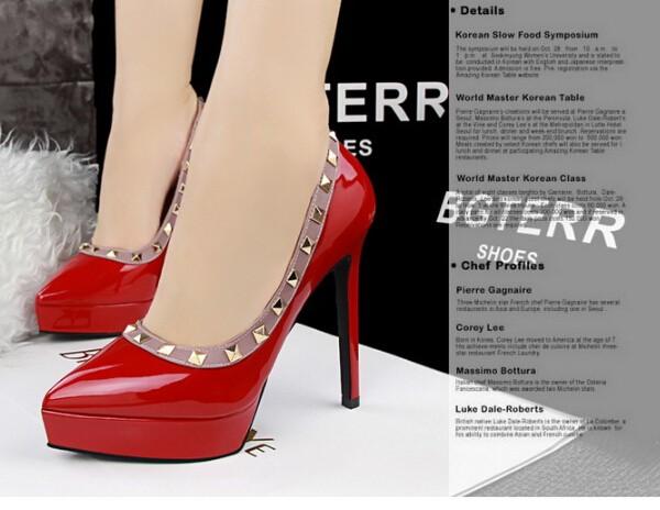 ซื้อ ขนาด34-39 6สียุโรปR Etroบางส้นสูงปั๊มจุด นิ้วเท้ารองเท้าชุดผู้หญิงที่สง่างามเซ็กซี่รองเท้าพรรคRivetsรองเท้าML2738