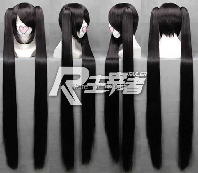 Lady Vocaloid Zatsune Miku 2 x clip ponytail Props Black BRS ROCK Wig High Quality Synthetic fibre queen Popular hair wigs(China (Mainland))