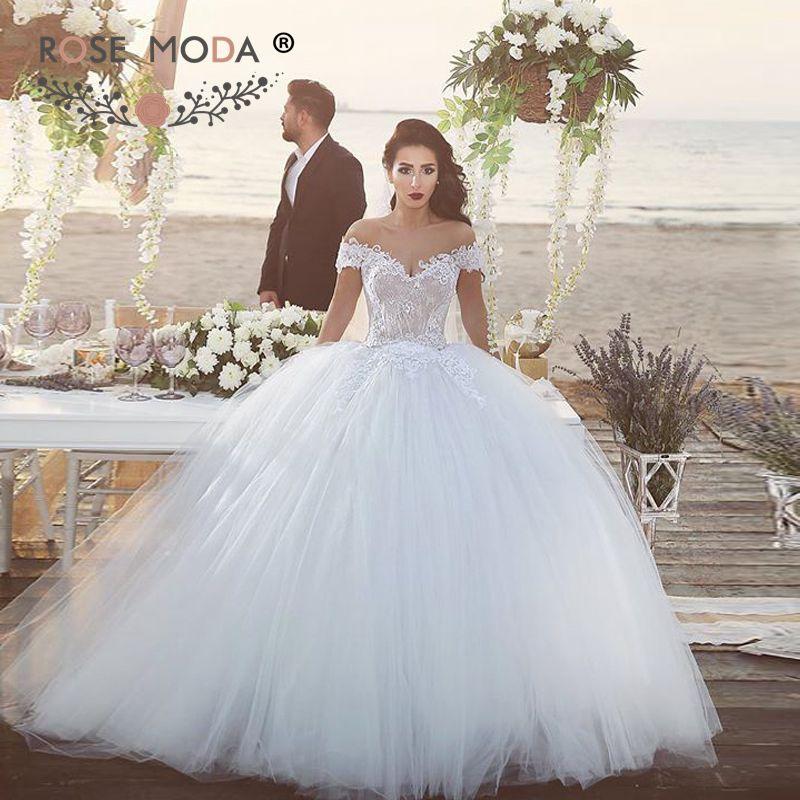 luxury off shoulder v neck lace princess wedding dress