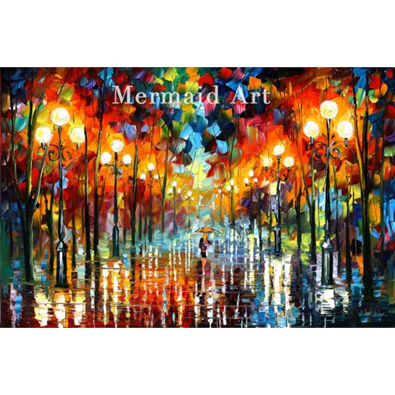 Buy Hand Painted Landscape High Quality Abstract Palette Knife Bridge Over Time Oil Painting Canvas Decoration Living Room Artwork cheap