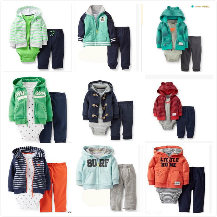2015 NEW carters Spring and Autumn baby boys and baby girls clothing set Fourteen colors(China (Mainland))