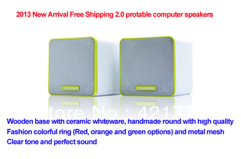 Free Shipping USB 2.0 Protable Multimedia Computer Speaker Mini Speakers Subwoofer Fashion Ring for PC Laptop Notebook MP3 MP4