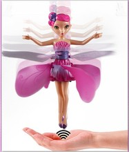 2014 New Battery Operated Flying Fairy Electronic Toys Sunbeam Flower Fairy Fairies Remote Control Plane Infrared Sense Aircraft(China (Mainland))