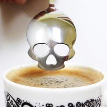 1PC Sugar Skull Tea Spoon Suck Stainless Coffee Spoons Dessert Spoon Ice Cream Tableware Colher Kitchen Accessories EJ876831(China (Mainland))