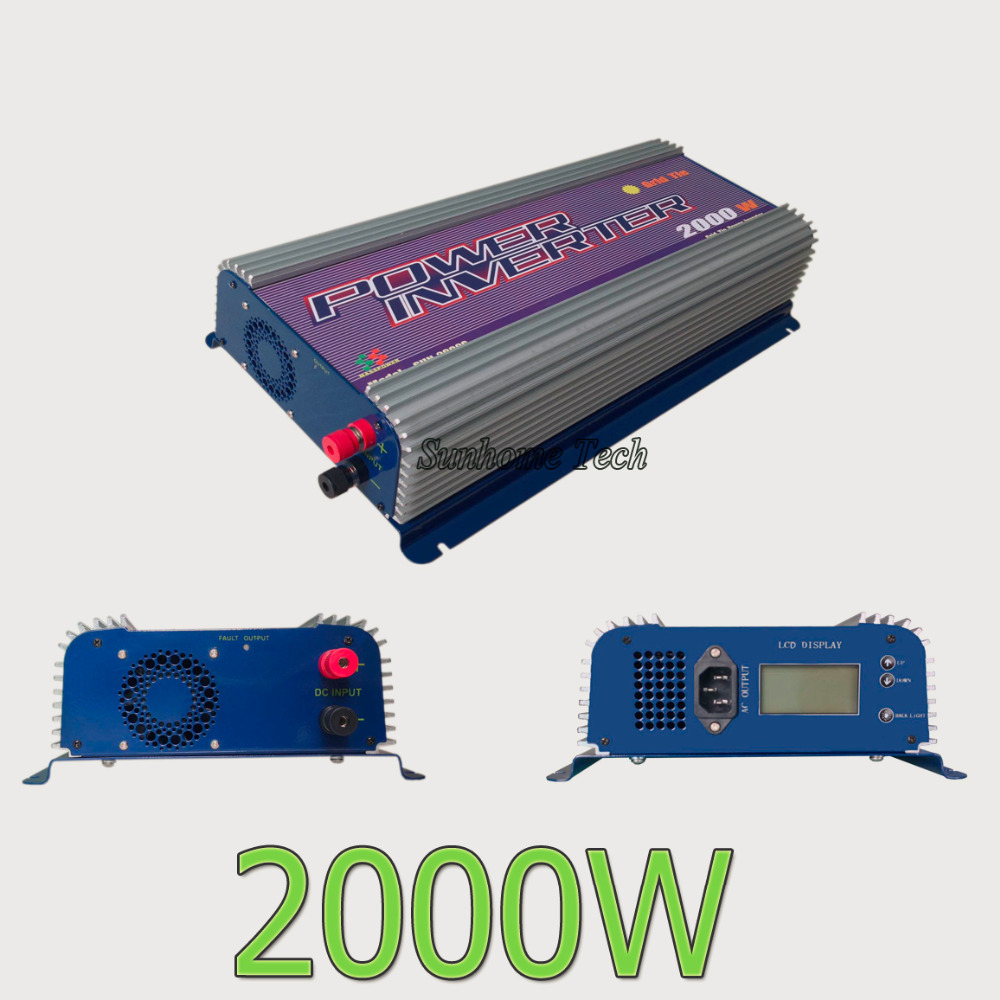Grid Tie Solar Inverter 2000W,45-90V DC On Grid Solar Inverter with LCD,120/230V AC output,MPPT fucntion(China (Mainland))