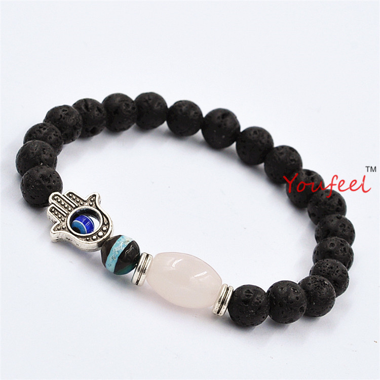 Wholesale New Design Natural Square Pink Crystal Stone Beads Lava Stone Beads Jewelry Hamsa Protection Bracelets<br><br>Aliexpress