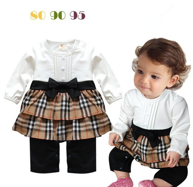 Retail infant toddler high quality spring cotton clothes baby girl plaid long sleeve cute bow petti romper roupa de bebe menina(China (Mainland))