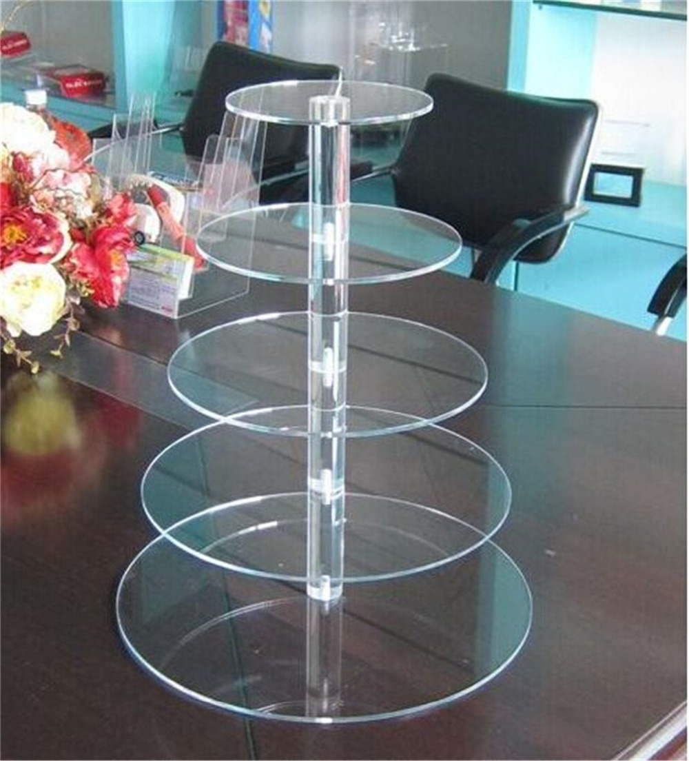 5 Tier Crystal Clear Round Super Strong Acrylic Cupcake Stand for Wedding Party Cupcake Tower(China (Mainland))