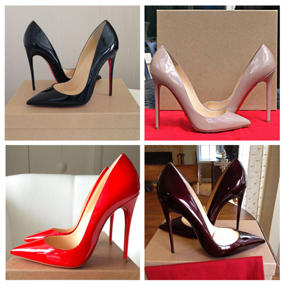 2015 brand red bottom high heels genuine leather women pumps pointed toe sexy ladies stiletto shoes online woman plus size 35-43(China (Mainland))