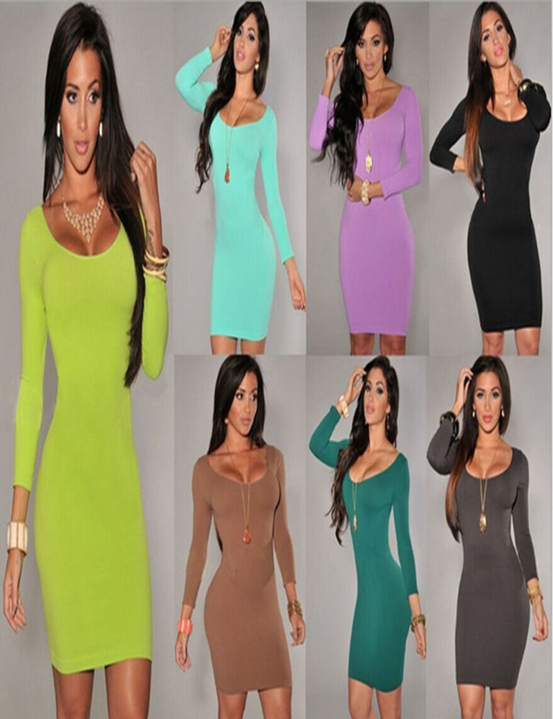 New Hot 7 colors Autumn Winter Bandage Slim Bodycon Prom Women Dresses Long Sleeves Solid Sexy Clubwear Vestidos Dress(China (Mainland))