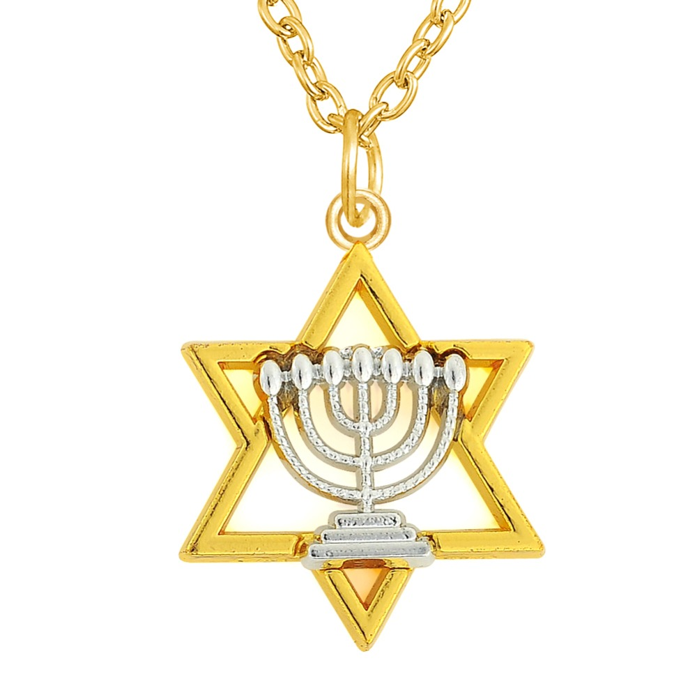 Two tones rhodium and gold plated star of david and for Star of david necklace mens jewelry