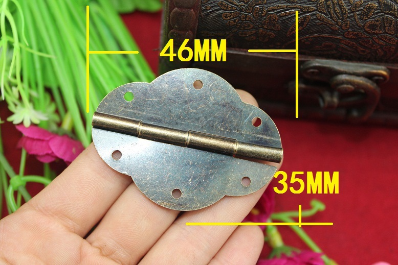 50Pcs 46 * 35MM Small oval box accessories antique hinge 6-hole lace olive hinge<br><br>Aliexpress