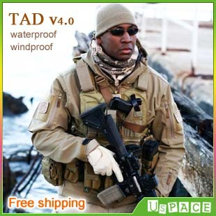 TAD v4.0 shark skin soft shell jacket Military Tactical Jacket Outdoor TAD waterproof windproof fleece Army Clothing(China (Mainland))