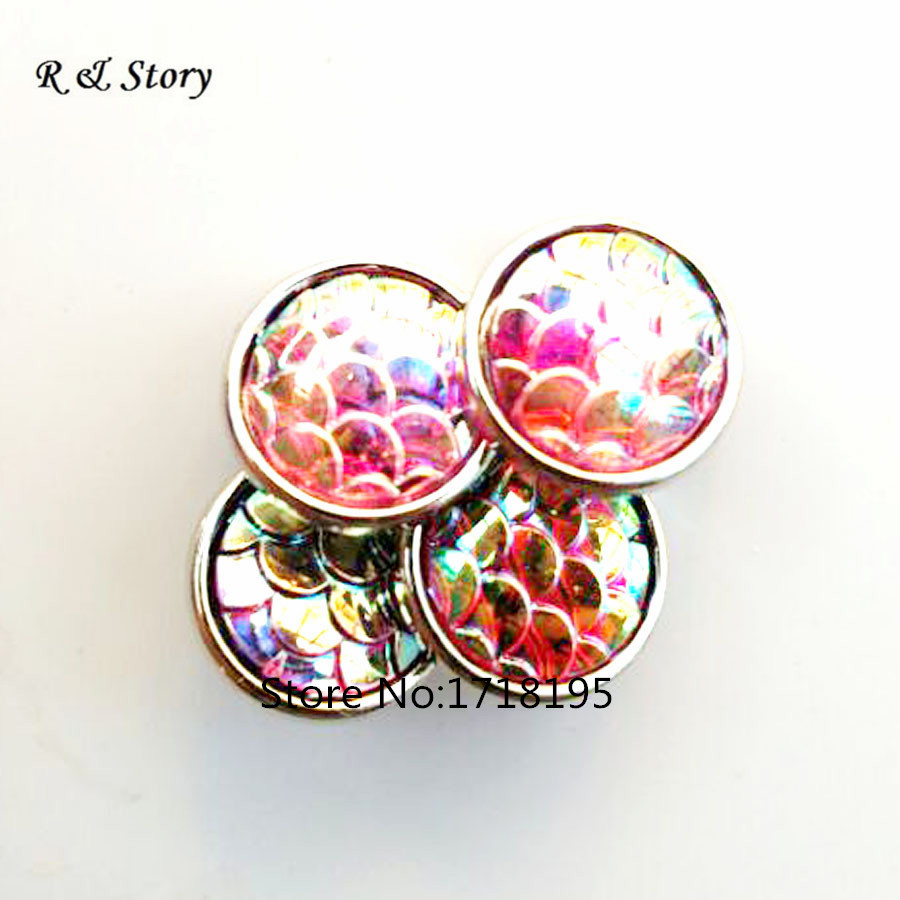 2015 New Pink Scales Pattern Snap Buttons Fit Snap Bracelet 12mm SB_452