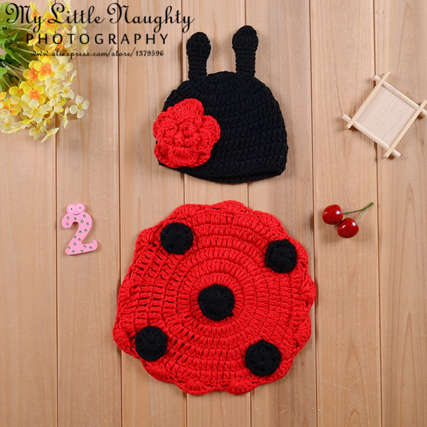 Joaninha ladybug beatles crochet costume newborn baby handmade knitting photography outfit set red flower hat with dot cover(China (Mainland))