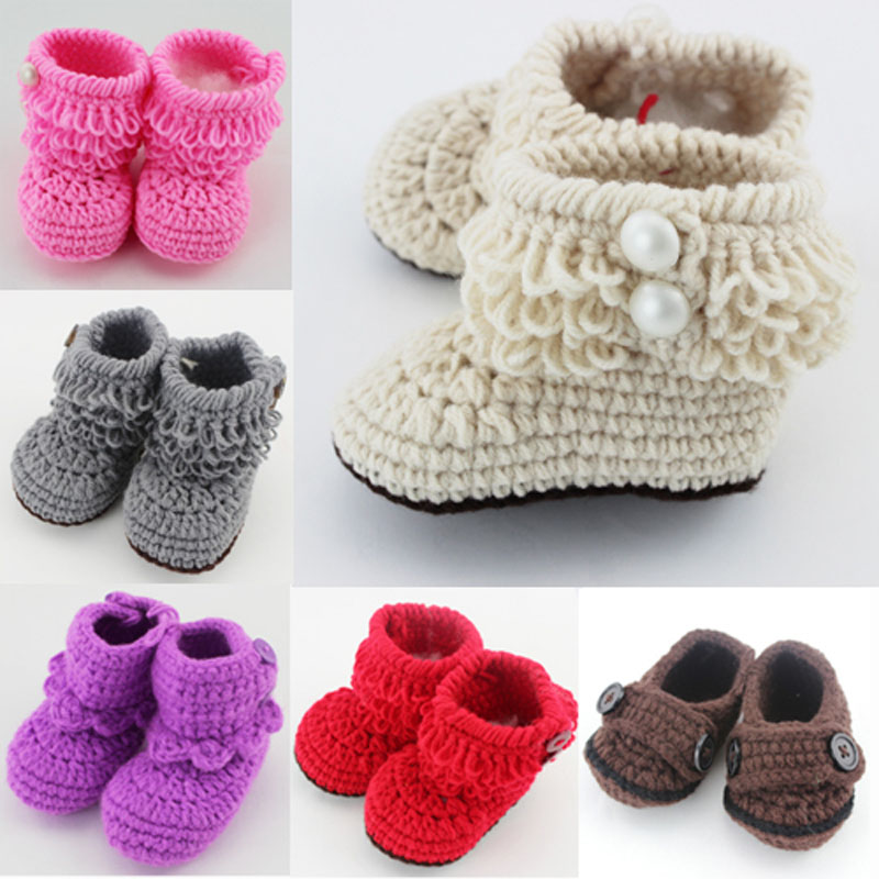 Retail 6 Colors for choice Newborn Toddler First Walker Shoes Crochet Knitted Booties Baby Winter Warm Crib Shoes(China (Mainland))