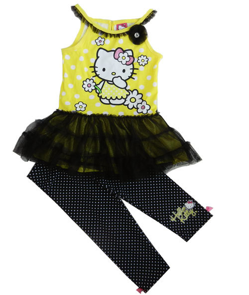 girls' cotton clothing set HELLO KITTY 2pcs ball gown and legging set TOP and PANT hello kitty for spring and summer SD512(China (Mainland))