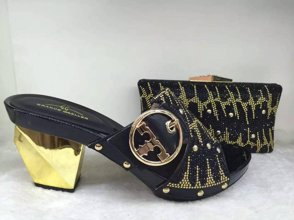 Fashionable Design Rhinestone Bride Shoes And Bag High QaulityElegant Italian Shoes and Bag Set On Sale Black(China (Mainland))