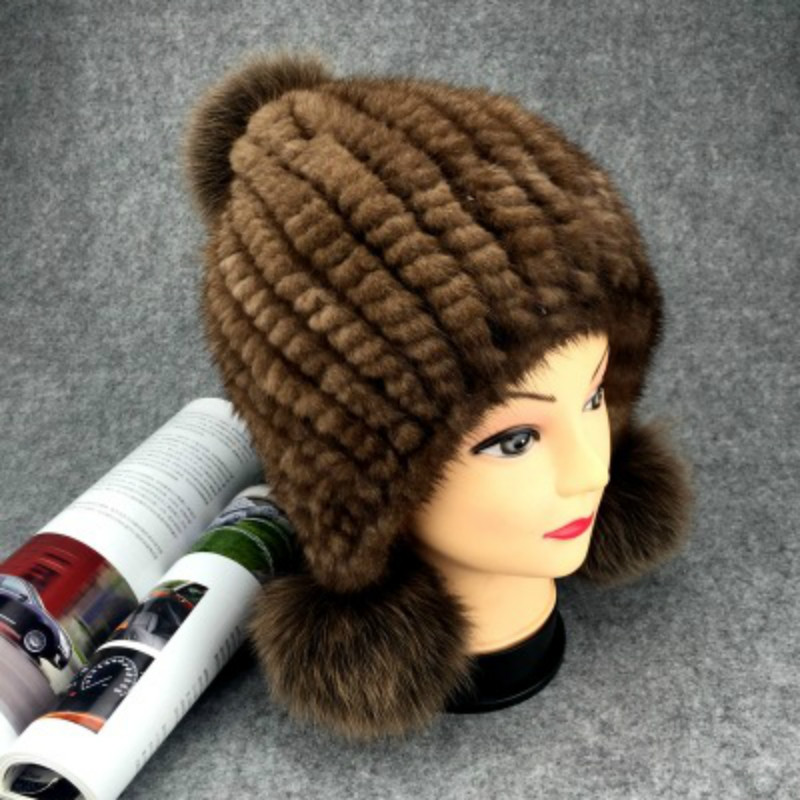 Winter New Authentic Thick Warm Mink Fur Hat Knitted Fox Fur Ball Ms. Luxury fashion Winter Hat Ear Cap Female Bomber Hats TM-8