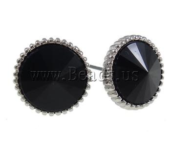 Free Shipping Black Flat Round Resin Stud Earring for Men Jewelry