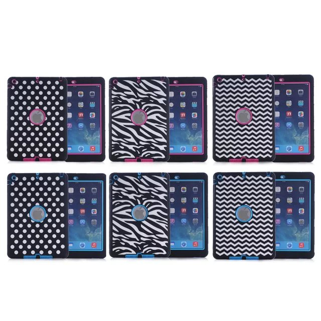 New laser carving mark etching wave dot zebra pattern TPU+PC tablet PC protective for Apple iPad air / 5 back case cover(China (Mainland))