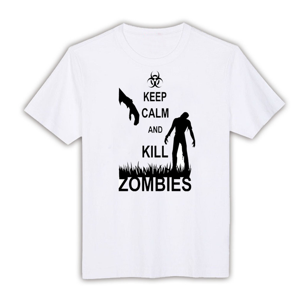 Keep Calm and Kill Zombies white XLTSTA-1658 round neck Short Sleeve cool games fashion custom made casual men t shirt SLM XL XX(China (Mainland))