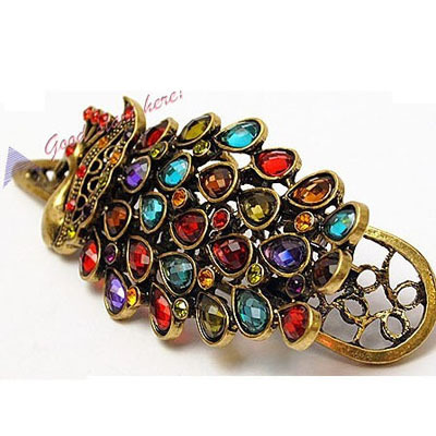 Retro Colorful Vintage Alloy Crystal Jewelry Peacock Hairpin Hair Clip Bronze(China (Mainland))