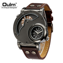 Buy Oulm Watch Man Quartz Watches Top Brand Luxury Leather Strap Military Sport Wristwatch Male Clock relogio masculino for $11.98 in AliExpress store