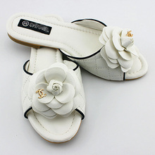 Big Size 2015 shoes women sandals summer fashion slippers camellia crystal flower flat High quality free shipping(China (Mainland))